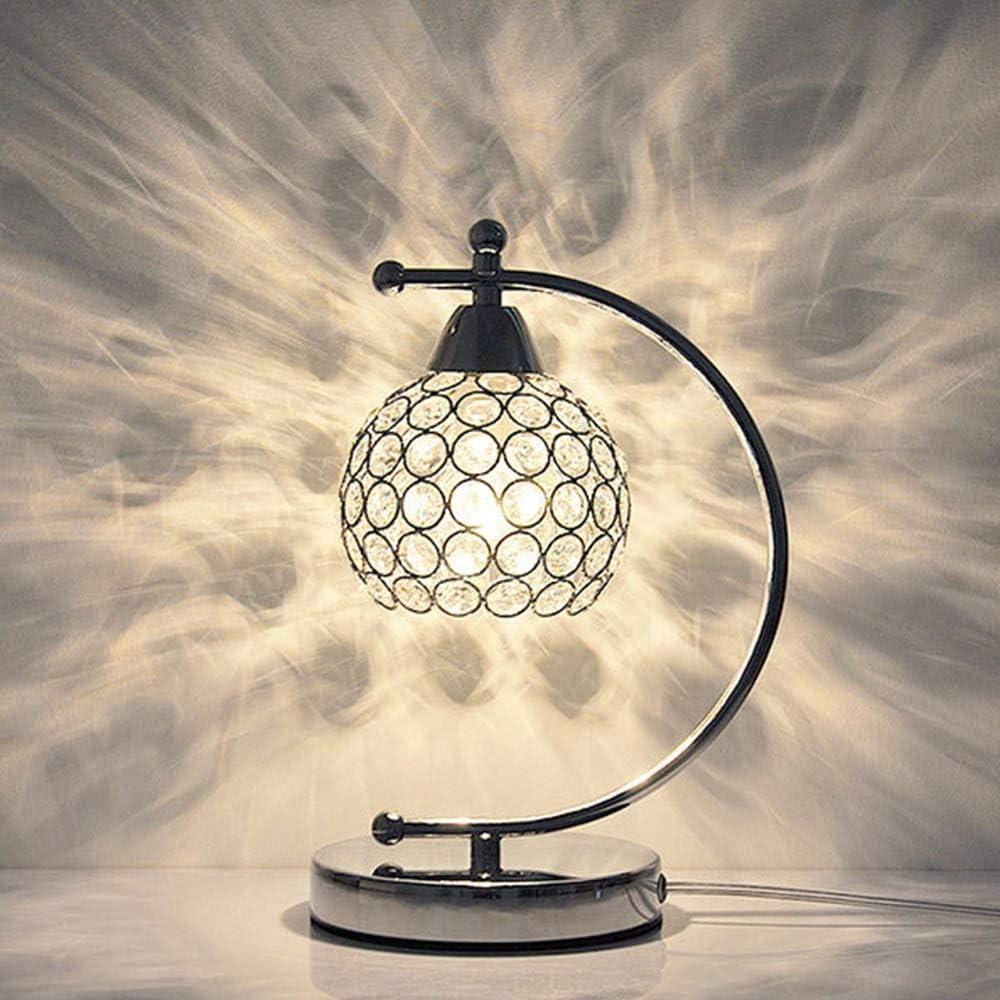 CMMT Lámpara de Mesa Plata Moderna Moderna Cristal lámpara de Mesa Creativa Restaurante Sala de Estar luz romántico Dormitorio cálido mesita de Noche