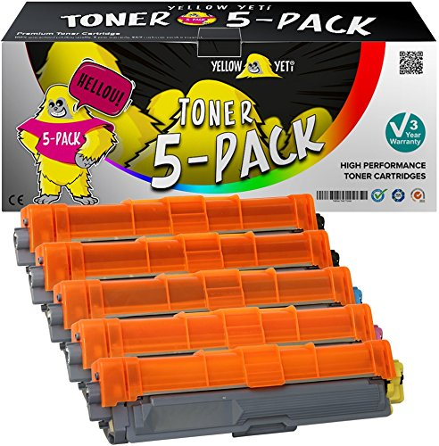 Yellow Yeti Kit 5x TN241 TN242 TN245 TN246 Toner compatibili per Brother HL-3140CW 3150CDW 3170CDW DCP-9015CDW 9020CDW MFC-9140CDN 9330CDW 9340CDW 9332CDW 9142CDN