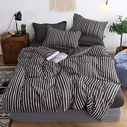 Stylish And Simple Striped Checkered Sheet 4-Piece Set, Super Soft And Comfortable Flat Sheet For All Seasons, Machine Washable Polyester Fiber, Wrinkle-Free And Breathable Home Textiles