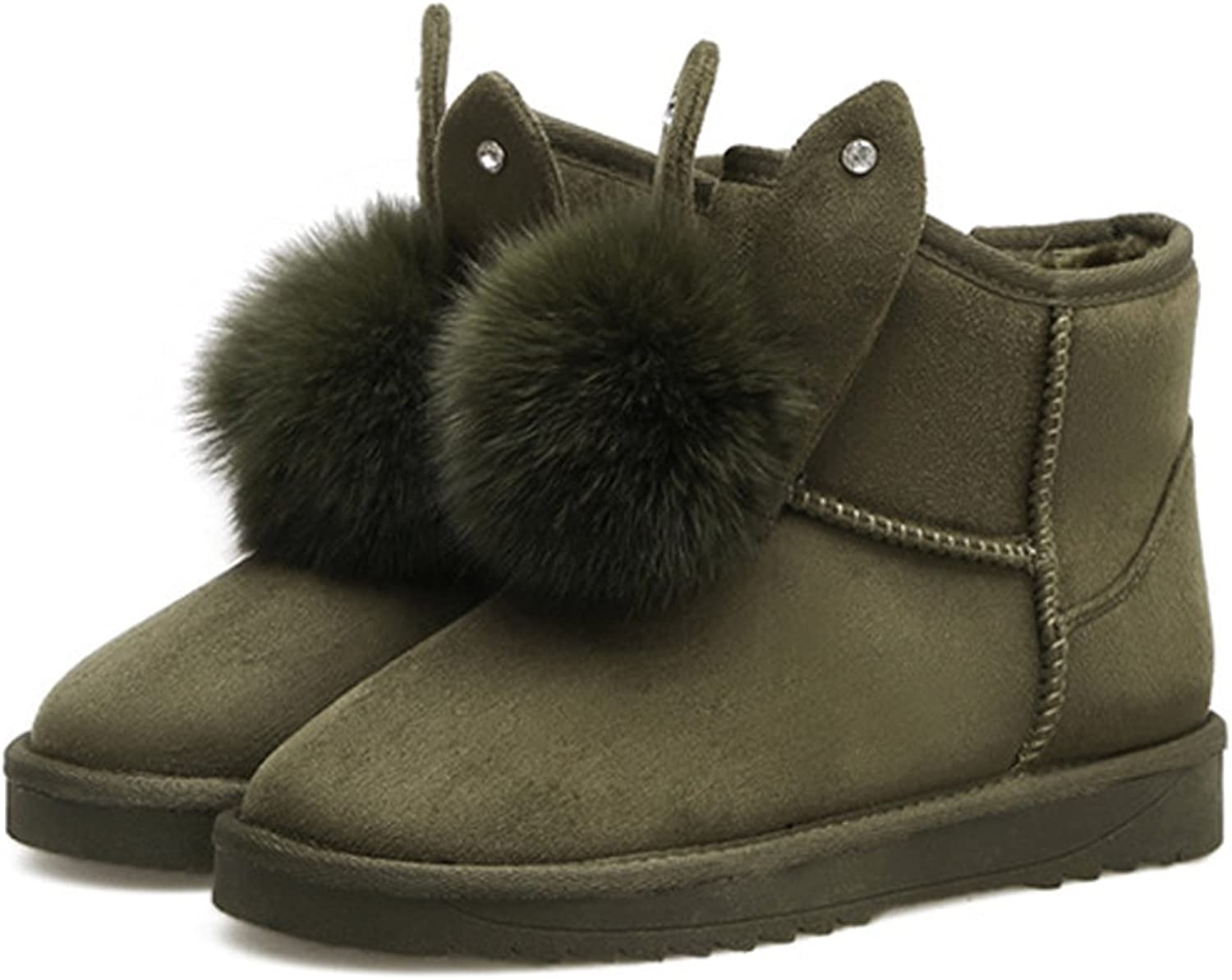 BERTERI Women's Cute Winter Christmas Snow Boot Rabbit Ears and Little Ball Decoration (Brown, Army Green, Grey, Black)