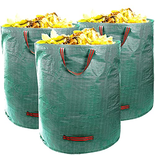 MECHEER Yard Waste Bags Reusable Leaf Bag 72 Gal Gardening Bags Collapsible Lawn Bags Big Trash Bag with Handles Heavy Duty Trash Containers Lightweight Trash Can Outdoor, 3 Pack 72 Gallon 272 Liter