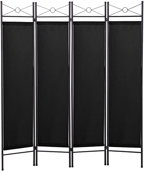 TOBBI 4 Panel Folding Room Divider Portable Privacy Screen Home Office Fabric Metal Frame Black