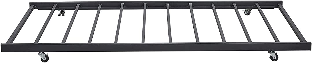VECELO Twin Only/Roll Out Trundle Bed Frame/Enhanced Metal Slats Support, Black