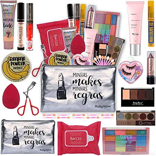 Kit Maquiagem Completa Ruby Rose + Necessaire Cor: Base Escura