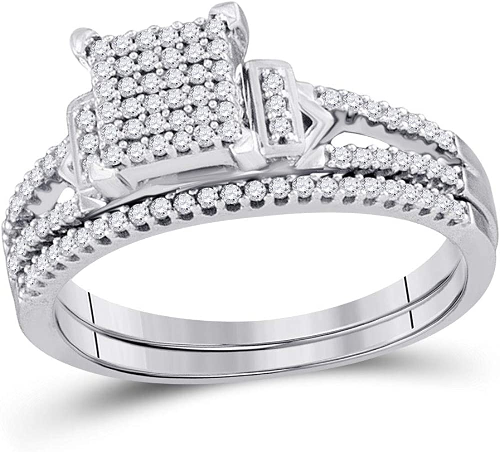 Selling rankings Sterling Silver Round Diamond Bridal Ring Wedding Ban for Animer and price revision Womens