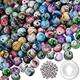 Quefe 500pcs Acrylic Beads for Jewelry Making Loose Beads in Ink Patterns with 50pcs Spacer Beads and Crystal String for Bracelets Making (8mm)