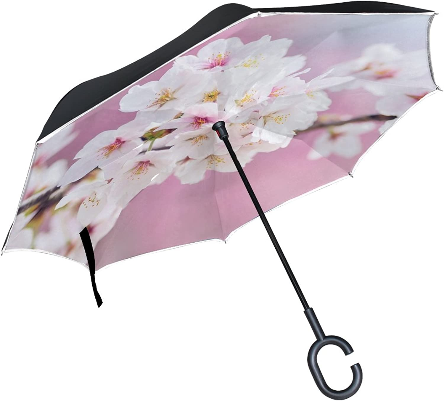 Double Layer Ingreened Japan Landscape Spring Plant Cherry Blossoms Umbrellas Reverse Folding Umbrella Windproof Uv Predection Big Straight Umbrella for Car Rain Outdoor with CShaped Handle