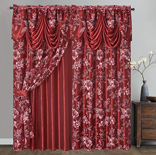 Roman Romance. Burnt-Out Printed Organza Window Curtain Panel Drape with Attached Fancy Valance and Taffeta Backing (Wine, 55 x 84 inches + Attached Valance x 2pcs)