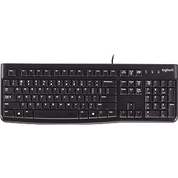 Logitech K120 Kabelgebundene Business Tastatur für Windows und Linux, USB-Anschluss, Leises Tippen, Robust, Spritzwassergeschützt, Tastaturaufsteller, UK QWERTY-Layout - schwarz