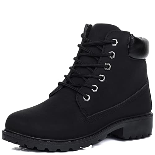 086bcd9712d3 Spylovebuy Morgan Women s Lace Up Cleated Sole Flat Combat Worker Walking  Ankle Boots Shoes