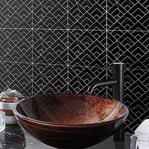 Pegatinas de azulejos metálicos geométricos de la vendimia para la cáscara de baño y palo de la cocina a prueba de agua Backsplash Pegatinas de azulejos de la baldosa autoadhesiva Pegatinas para escal