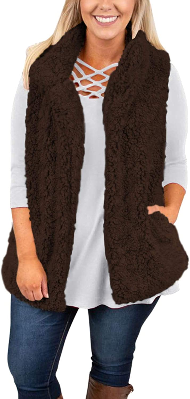 Sovoyontee Women's Coffee Faux Fur Coats Open Sherpa Vest Jacket with Pockets Medium