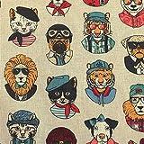 Stoff Meterware Baumwolle Ecru Portrait Hunde Katzen bunt