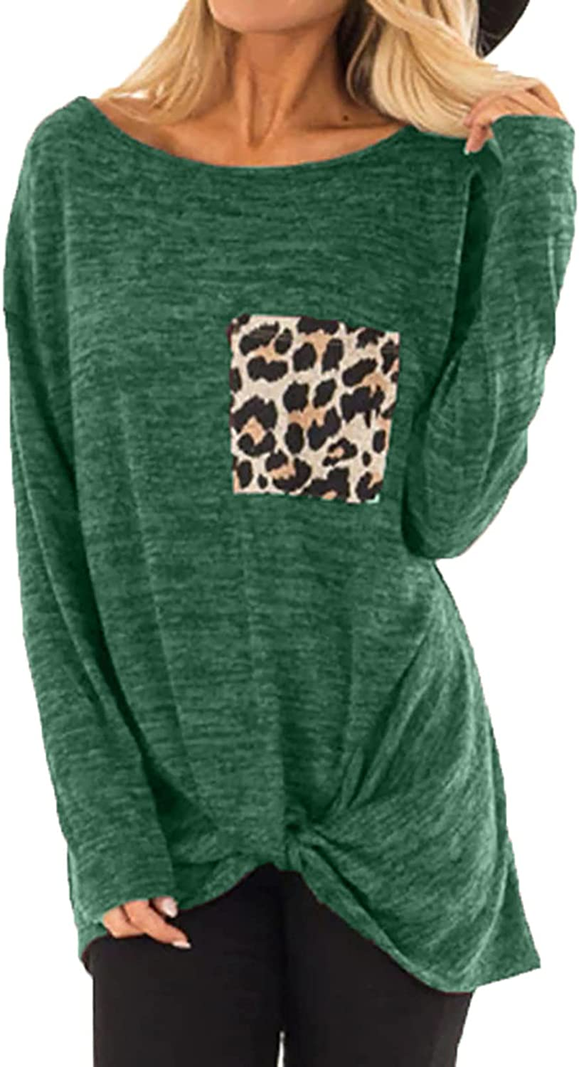 GOODTRADE8 Womens Long Sleeve Tops, Womens Casual Leopard Printed Pocket Front Knotted Tie Long Sleeve Top Blouse