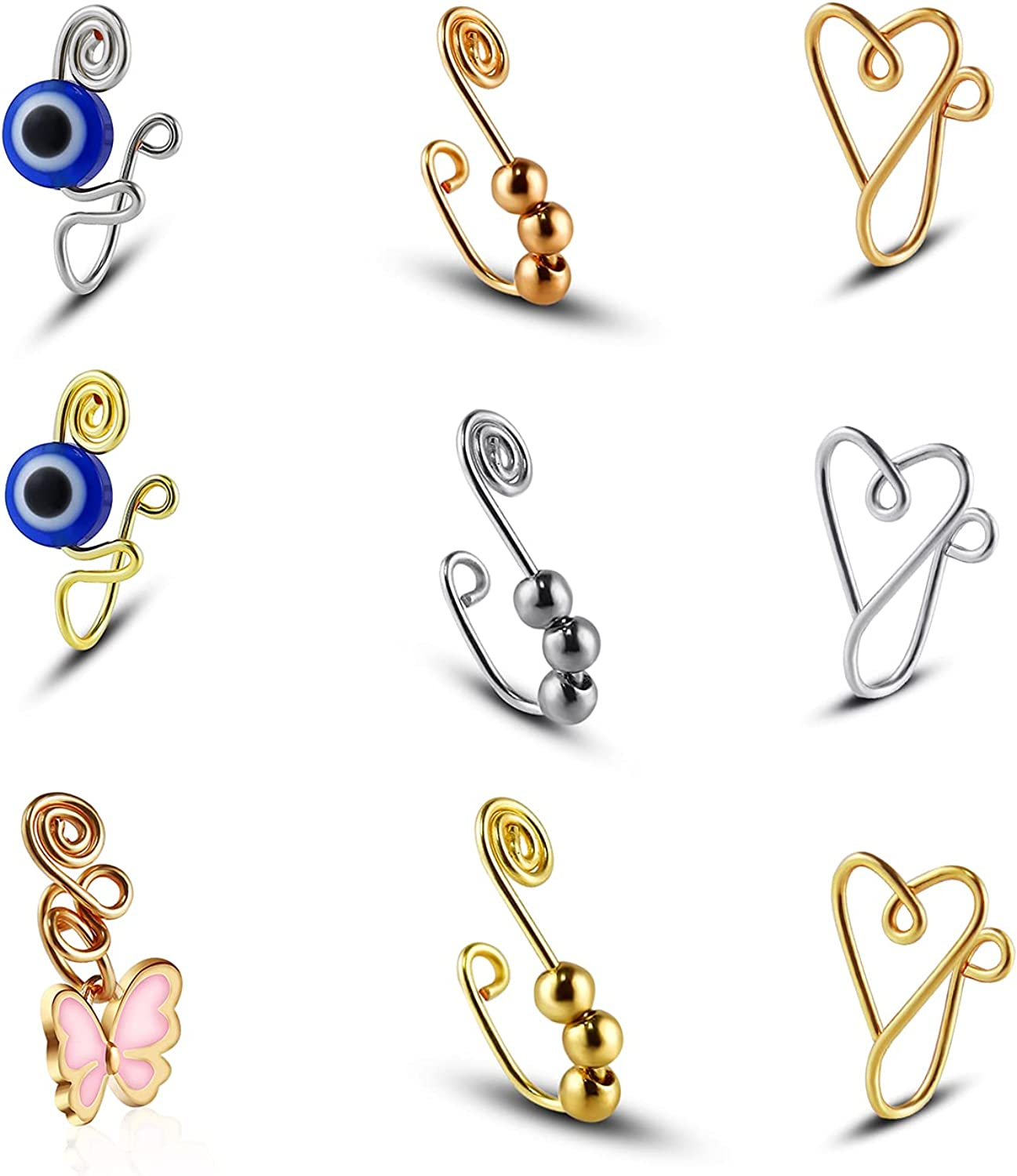 COLORFUL BLING 9pcs African Fake Nose Rings Set Evil Eye Hoop Non-Pierced Adjustable Clip on Nose Cuff, Ear Cuff Faux Body Piercing Jewelry for Women Girls