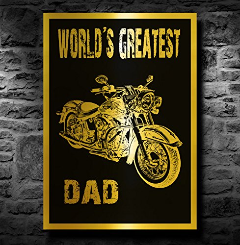 Harley Davidson Motorbike A4 Metallic Goud Print (Unframed) - Worlds Greatest Dad
