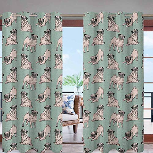 Outdoor Blackout Curtains with Grommet Top Dogs with Various States Sitting W96 x L108 Thermal Insulated Outdoor Drape for Patio Courtyard