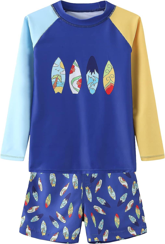 Boys Two Piece Rash Guard Swimsuits Set with Swim Trunk Kids Long Sleeve Bathing Suit Swimwear Set