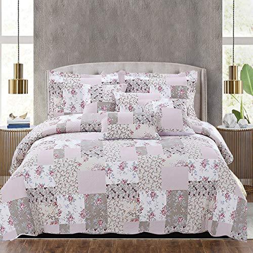THL Bettwäsche-Set mit Tagesdecke und 2 Kissenbezügen, Patchwork-Design, 235 x 250 cm, Doppelbett / King-Size-Bett, 3-teiliges Set