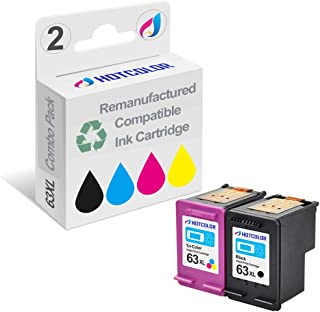 HOTCOLOR 63 High Yield Remanufactured Ink Cartridge 63XL (1 Black 1 Tri-Color) for Deskjet 1110, 2130, 3630, Envy 4520 OfficeJet 3830, 4650 Printer