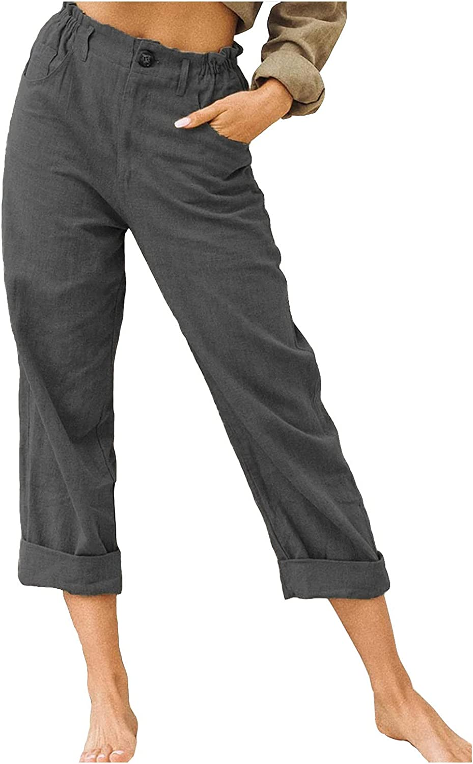 RealKing Women's Comfy Casual Pants Solid Color Button Lounge Pants Loose Trousers Relaxed Fit Capri Pant with Pockets