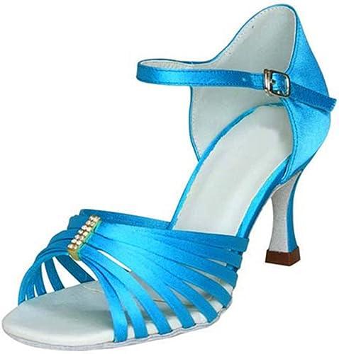 Wohommes Satin Chaussures Chaussures De Danse Latine,Fond Mou Talons Hauts Salsa Tango Chaussures De Danse Sociale Indoor Sandale  chaud