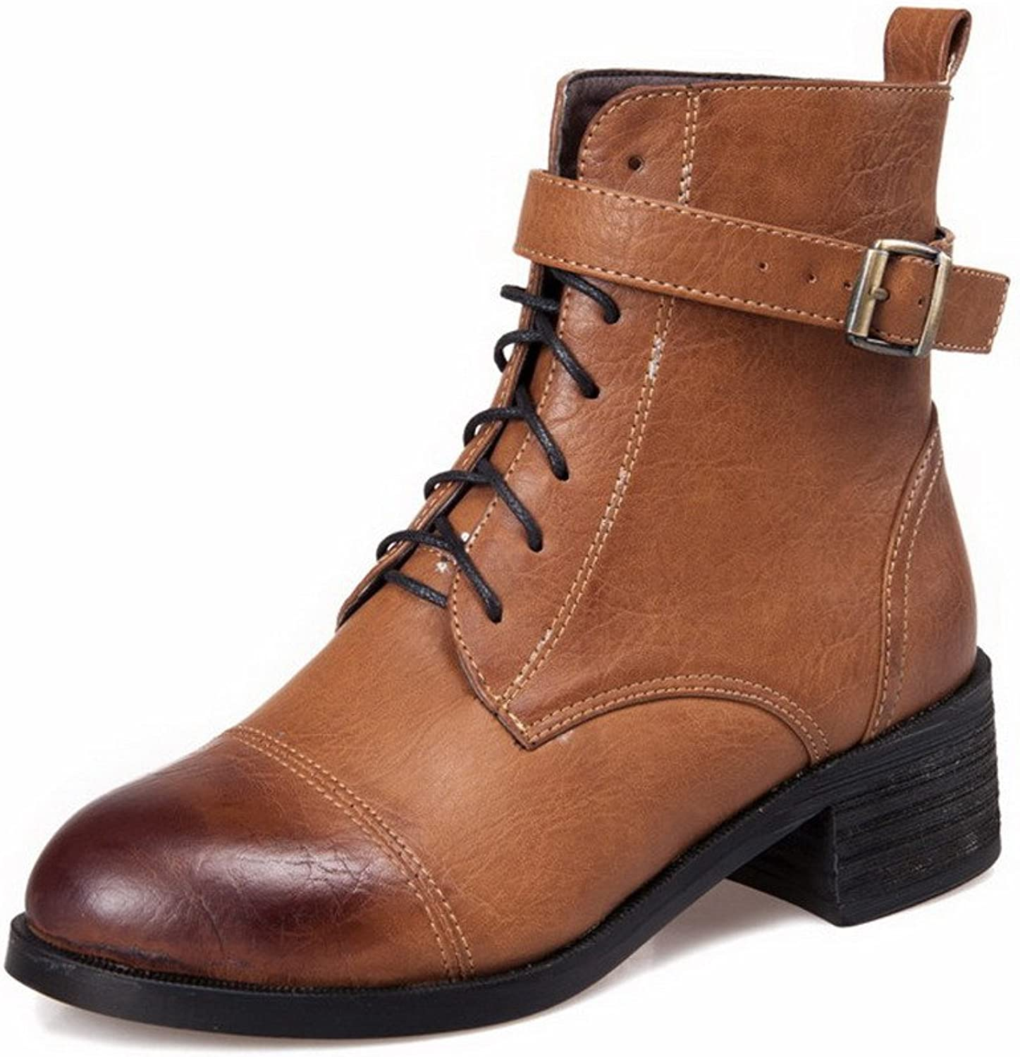 AllhqFashion Women's Lace-up Round Closed Toe Kitten-Heels PU Low-top Boots