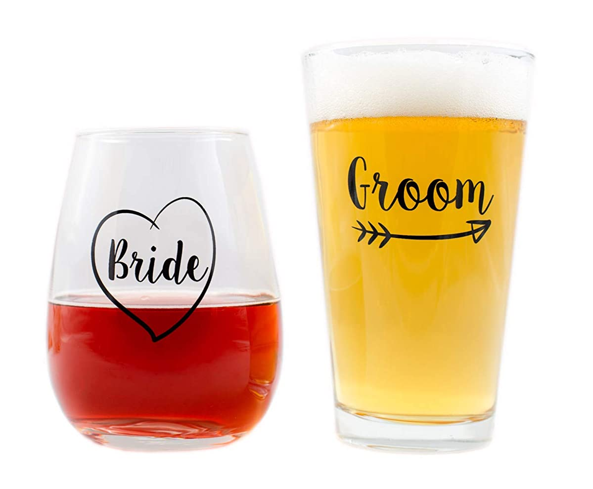 Cute Wedding Gifts - Bride and Groom Novelty Wine Glass & Beer Glass Combo - Engagement Gift for Couples