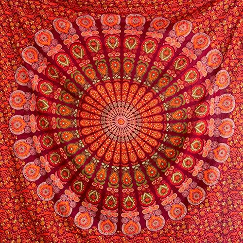 Momomus Tapiz de Mandala - Hecho a Mano con Algodón 100% y Tintes Vegetales Naturales - Adornos de Arte para Pared de Hogar, Pareo/Toalla de Playa Grande, Sofá - Elegante y Bohemio - Rojo B,210x230cm