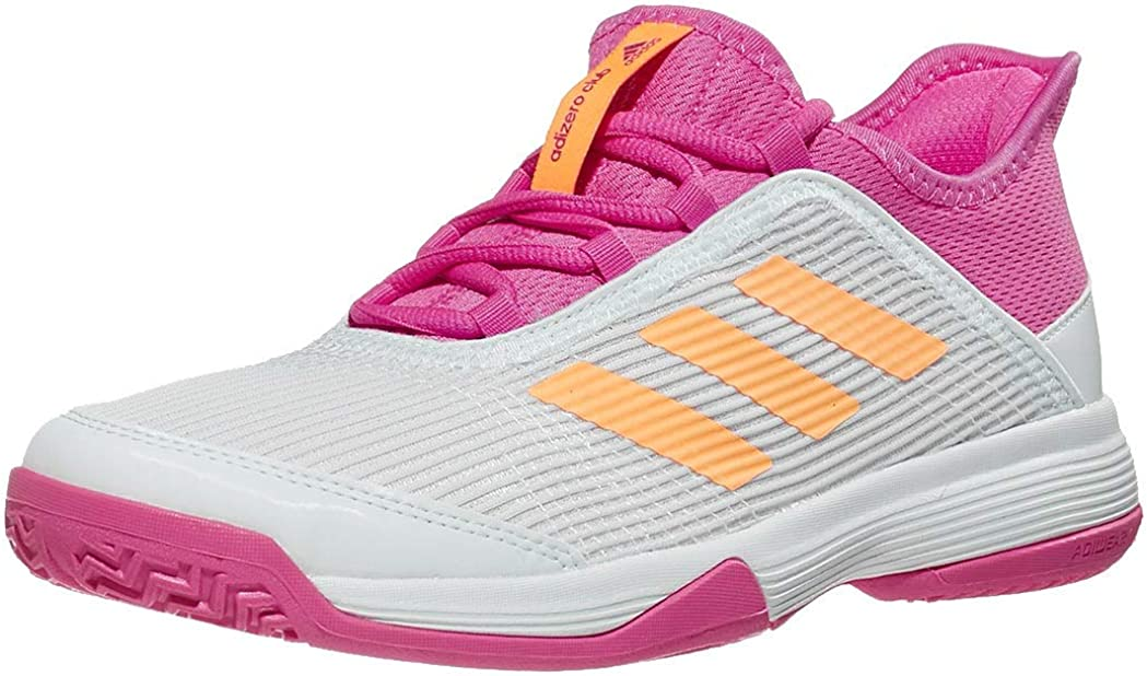 adidas Adizero Club Tennis (Little Kid/Big Kid) White/Acid Orange/Screaming Pink
