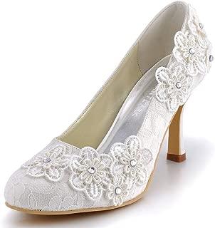 Women Vintage Closed Toe Pumps High Heel Flowers Lace Wedding Bridal Dress Shoes