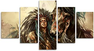 Large Ancient Native American Painting on Canvas 5 Piece Wall Art Retro Indian Chief Painting Mystic Pictures Print For Home Decor Framed for Living Room Giclee Stretched Ready to Hang(40