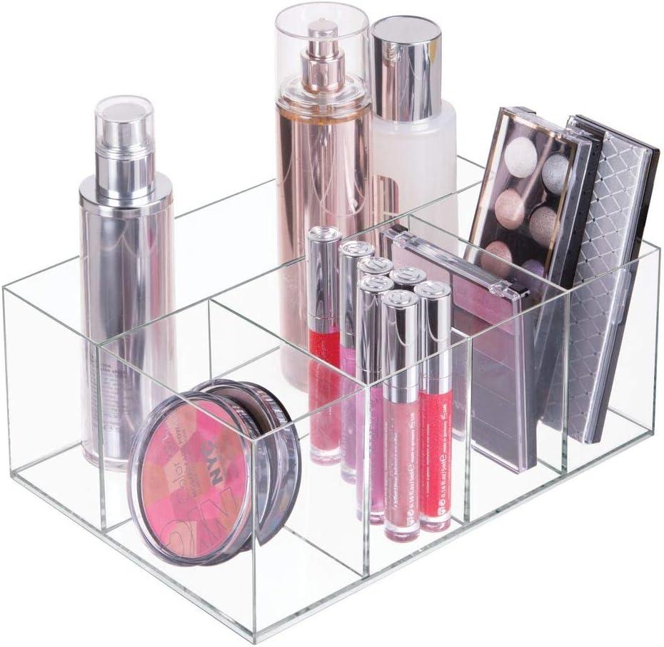 mDesign Organizador de maquillaje con asas Pr/áctica cesta de ba/ño con 3 compartimentos para maquillaje crema cosm/éticos y material de vendaje Caja para medicamentos peque/ña en pl/ástico sin BPA