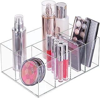mDesign Organizador de maquillaje – Caja transparente con 5 compartimentos - Ideal para guardar maquillaje cosméticos y p...