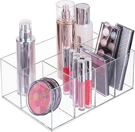 mDesign organiseur maquillage ? boîte de rangement maquillage avec cinq compartiments pour produits de maquillage, vernis à ongles et produits de beauté ? rangement make up idéal ? transparent