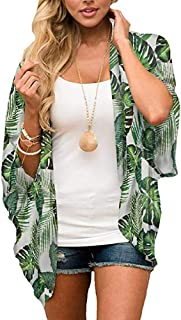 Womens Kimono Cardigan Beach Cover Up Floral Chiffon...