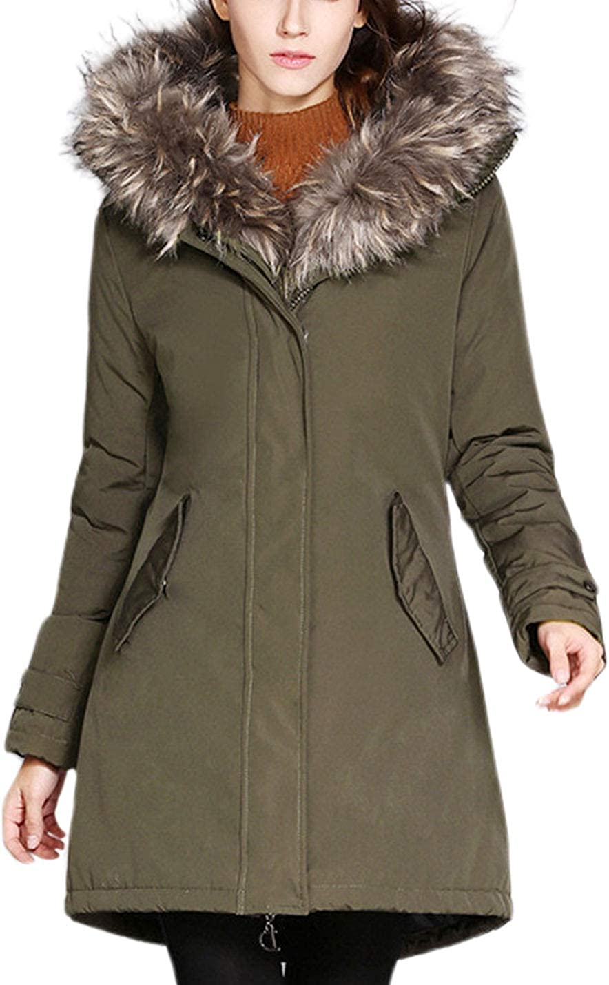 Lentta Womens Casual Loose Fur Collar Thermal Mid Long Outerwear Hooded Winter Coats