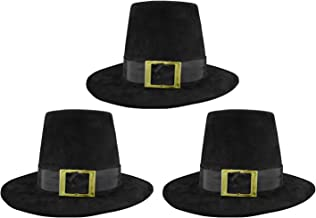 Deluxe Pilgrim Hat Costume Top Hat, (Pack of 3), Black, One Size