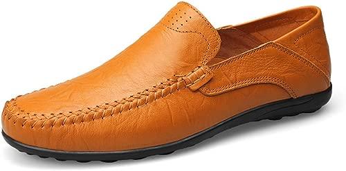 Herrenmode aus weichem echtem Leder Schuhe Casual Mokassins Slip On Driving Loafer Slipper (Farbe   Gelb braun Hollow Vamp, Größe   48 EU)