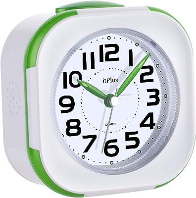 目覚まし時計, めざまし 時計 アナログ 連続秒針 見やすい カチカチならない 大音量 目覚まし 時計 アラーム LEDライト2つ Alarm Clock コンパクト スヌーズ機能 30曲 音楽ループ 高音質 視認性抜群 (Super 緑)