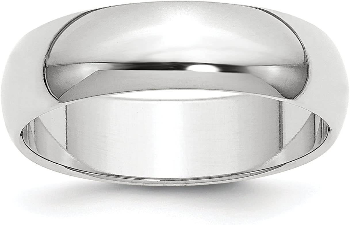 Solid 10k White Gold 6 mm Wedding Low price Long Beach Mall Round Band Ring Half