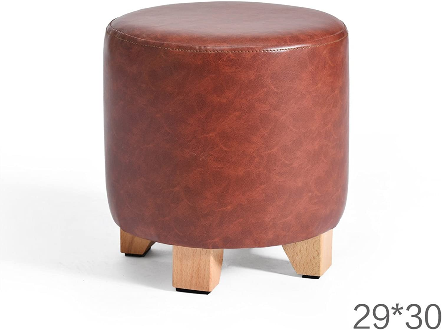 SMC Stool Solid Wood Leather Round European Style Simple Ideas Lightweight Comfortable Sofa Living Room Bedroom Stools shoes Change Stool (color   B)
