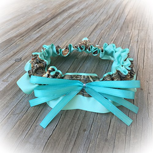 SEXY Camouflage & Aqua Blue Satin Bling Bridal Wedding Keepsake Garter Rhinestone Camo