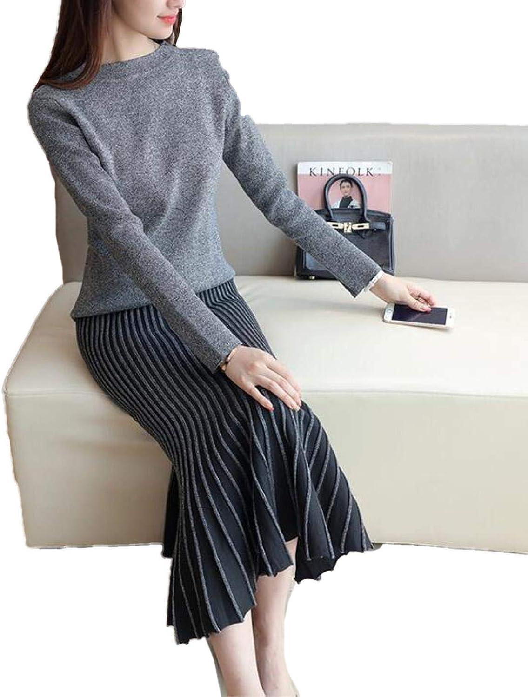 CwrjaL Women O Neck Long Sleeve Sweaters Knit Skirt Elegant Lady Two Piece