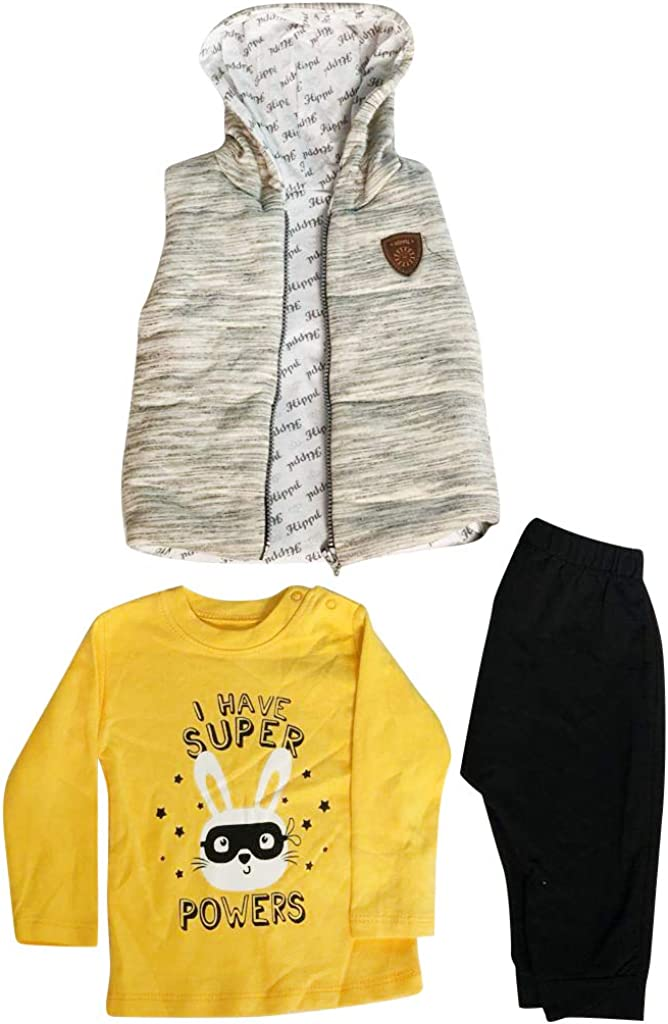 Baby Cardigan Set Hooded Fleece Jacket, Pant and Long Sleeve T Shirt for Boys, Girls 100% Cotton Hooded Casual Baby Clothes