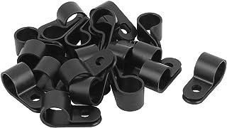 uxcell ケーブルクランプ Rタイプ 12mmワイヤ・ホース・チューブ ブラック プラスチック 20個入り