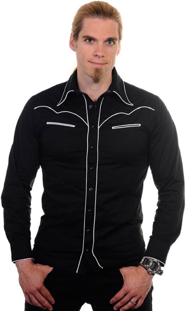 Banned - Camisa casual - para hombre negro S: Amazon.es ...