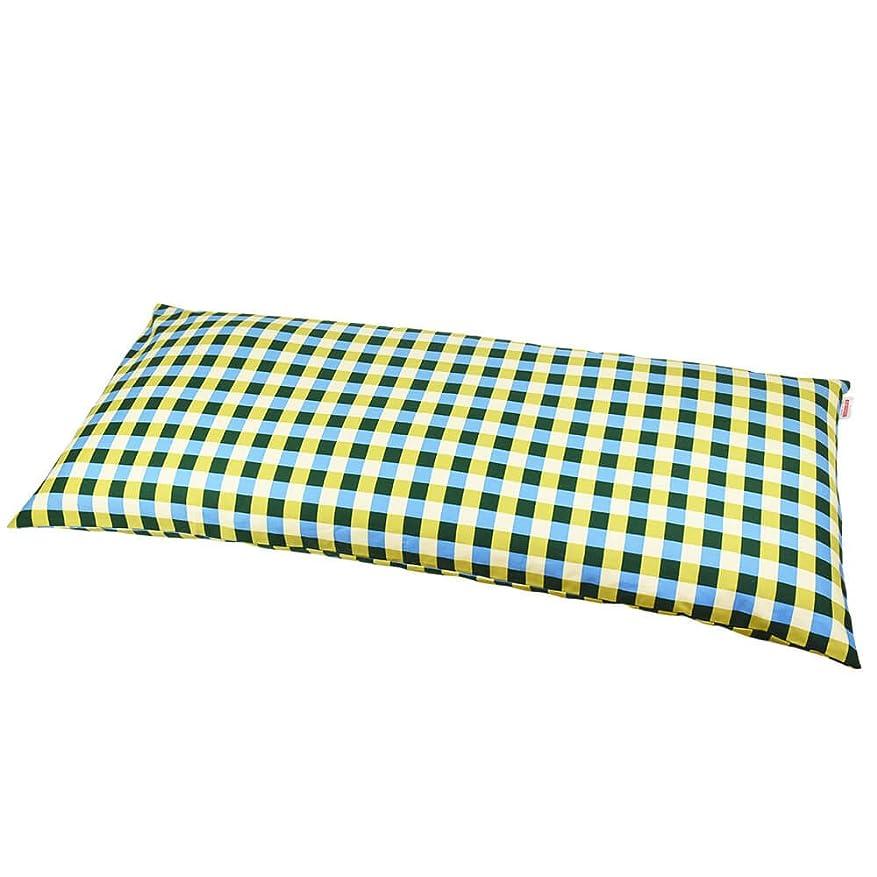 ロータリー労苦各枕カバー 60×140cmの枕用 チェック綿100% ファスナー式 ぶつぬいロック仕上げ 日本製 枕 綿 ブルー