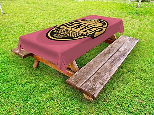 ABAKUHAUS Colorado Tafelkleed voor Buitengebruik, Denver Grunge Stedelijke Stad, Decoratief Wasbaar Tafelkleed voor Picknicktafel, 58 x 84 cm, Mosterd Black Droog nam