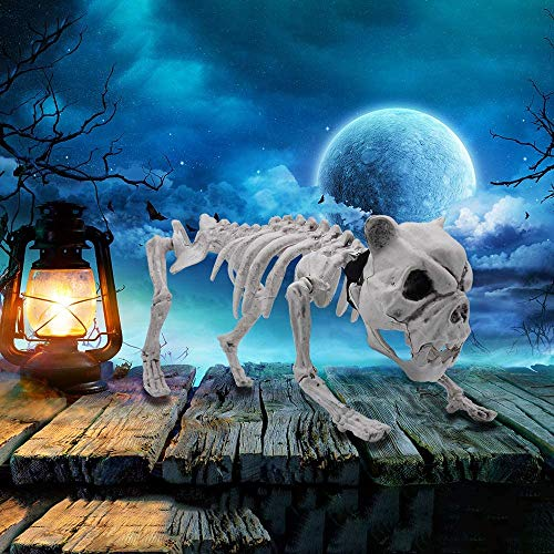 """Halloween Decoration 16"""" Pose-N-Stay Puppy Skeleton Plastic Dog Bones with Posable Joints for Pose Skeleton Prop Indoor/Outdoor Spooky Scene Party Favors Décor."""